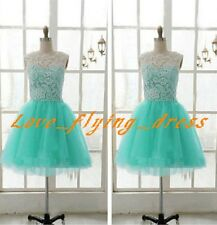 Short Mint Tulle Bridesmaid Prom Dress Pageant Homecoming Formal Evening Gowns