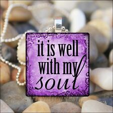 """IT IS WELL WITH MY SOUL"" INSPIRATIONAL SAYING GLASS PENDANT NECKLACE KEYRING"