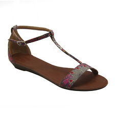 Brand New Women's Floral Print T-strap Back Counter Flat Gladiator Sandals