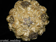 Satin rose & brooch bouquet 'Exquisite ' collection wedding flowers all colours