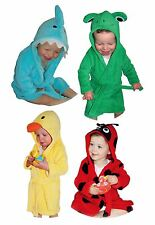 Baby Toddler Soft Cute Animal Fleece Bathrobe Dressing Gown Hooded Towel