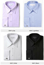 Mens French Cuff Dress Shirt with Cuff Links -  Wrinkle Free - Regular Fit - 009