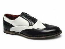 Giovanni Mens Leather Lined Funky Gangster Two-Tone Brogue Shoes Black & White