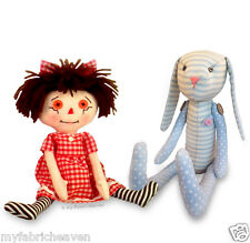 Unique Fabric Soft Toy Sewing PATTERNS Bunny Rabbit / Rag Doll  Exclusive Design