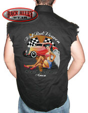 HOT ROD HEAVEN Sleeveless DENIM Shirt Biker Cut Brew, Burgers Babes Pin Up Angel