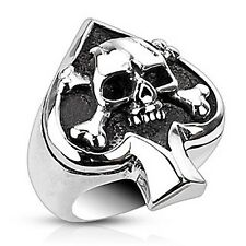 Stainless Steel Ace of Spades Mens Ring with Skull and Crossbones