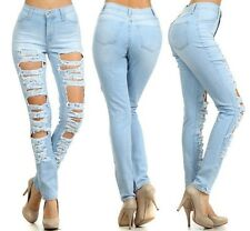 PLUS SIZE LIGHT BLUE HIGH WAIST DESTROYED HOLE RIPPED SKINNY DENIM PANTS JEANS