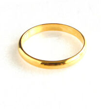 24K Real Yellow Gold Plate Band Ring Classic Wedding Engagement Lady Men 4mm 3mm