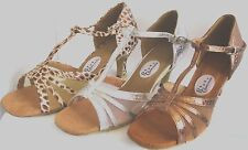 Ladies Bronze, Silver or Brown/White Ballroom, Latin, Salsa Dance Shoes