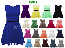 NEW WOMENS SLEEVELESS FLARED FRANKI PARTY LADIES PLUS SIZE SKATER TOP DRESS 8-26