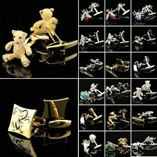 Animal Crystal Bear Bee Dragon Style Mens Silver Gold Wedding Party Cufflinks