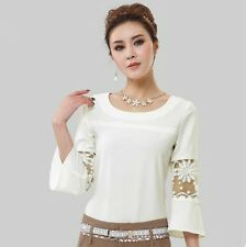 2014 New Women Casual Loose Chiffon Shirt Tops 3/4 Sleeve Fashion Blouse T-Shirt