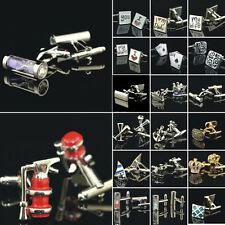 1 Pair Stainless Steel Mens Silver Gold Wedding Party Cufflinks