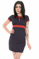RETRO NEW VINTAGE 60s SCOOTER POLKA DOT PETER PAN COLLAR NAVY DRESS 8 to 16