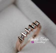 18CT Rose Gold Plated 5 Gen SWAROVSKI Lab Diamonds Ring, for everyday wearing