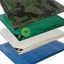HEAVY DUTY TARPAULIN TARP LIGHTWEIGHT WATERPROOF GROUND SHEET COVER *ALL SIZES*