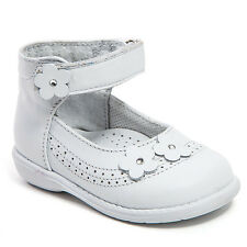 Baby Girl White Leather High Top shoes with Velcro: Size 3 to 8 Made in Mexico