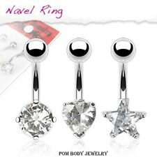 1 PC Solitaire Heart Star Round Clear CZ Prong Set Steel Navel Belly Ring