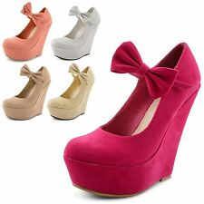 Womens Ladies Mary Jane Bow Platform High Heel Wedge Party Shoes Size 3-8 UK