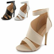 New Ladies Open Toe Cut Away Side High Stiletto Heel Ankle Cuff Sandals Size 3-8