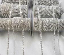 Costume applique clear glass crystal rhinestone compact close silver chain trims