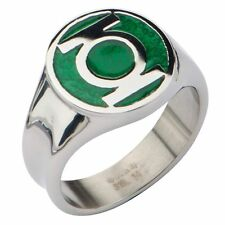 Authentic Green Lantern Stainless Steel Ring Superhero DC Comics Size 8 10 12 14