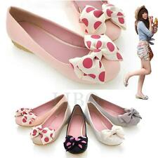 Women Casual Comfy Bow knot Polka Bowed Flat Ballerinas Slip Loafer Ballet Shoes