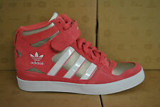 ADIDAS FORUM UP HI TOPS WOMENS LADIES TRAINERS PINK WHITE Q22076 HEEL WEDGE UK 6