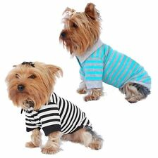 Cute Pet Puppy Dog Clothes Stripe Cotton Polo T Shirt Apparel Us Seller
