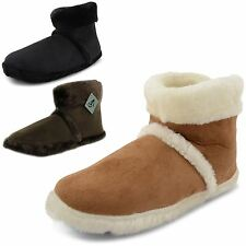 New Mens Dunlop Flat Microsuede Furry Slippers Comfy Snugg Ankle Boots Size 6-11