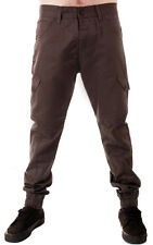 MENS CARROT FIT TWISTED CUFFED HEM DROP CROUCH SKINNY CHINO JOGGERS GREY 28-36