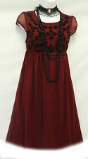 New Wine Red  Vtg 1920's Deco Downton Abbey Beaded Flapper Charleston Dress