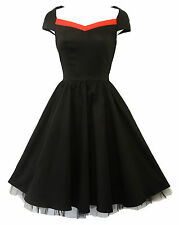 New H&R Vintage 1950's style Black Rockabilly Pin-up Party  Prom Dress