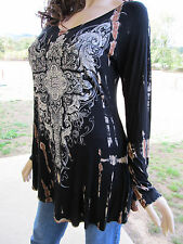 Vocal Tie Dye Pearls Crystals Cross Tattoo Tunic Shirt Biker Sexy S M L