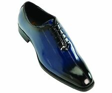 Bolano Mens Exotic Faux Eel Print Oxford Dress Shoe in Navy/Black: Brayden-002