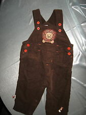 Chocolate Brown Corduroy Overall w/ Lion on Bib, Orange Button Trim, Snap Crotch