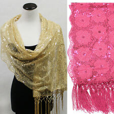 Bling Sequin Wedding Shawl Wrap Sheer Formal Floral Party Evening Scarf Gift USA