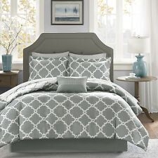 BEAUTIFUL MODERN CHIC REVERSIBLE GREY WHITE COMFORTER BED IN BAG SET & SHEETS