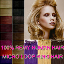 Micro Bead Loop Ring Tube Remy 100% Real Human Hair Extensions All Colour