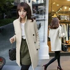 New Korean Women's Coat double-breasted Cashmere Jacket Slim Trench Outwear S-XL