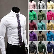 Mens Tops Dress Shirt Casual Slim long sleeve Fashion Fit Stylish Casual T-Shirt