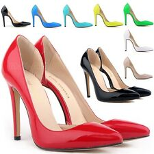 Womens Patent PU Leather Corset Style Work Dance Party Pumps High Heel Shoes New