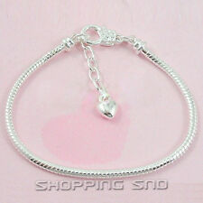 10pcs Silver Lobster Clasp Snake Chain Charm Bracelets Fit European Beads Heart