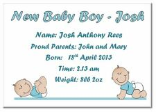 ab NEW BABY BOY / GIRL ANNOUNCEMENT CARDS pack 10 & envs, BLUE BABY