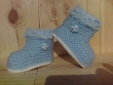 UNISEX HAND KNITTED BOOTIES/ BOOTS - BLUE - FOOTBALL N/B, 0-3, 3-6, 6-9 MONTHS