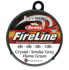 BeadSmith FIRELINE Beading Thread - CRYSTAL or SMOKE GREY 4LB - 6LB - 8LB -10LB