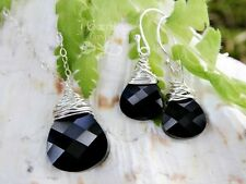 Sterling Silver wire wrapped jet black crystal necklace & earring set - handmade