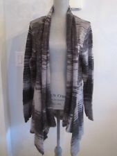 NWT COMO WOMAN 1X & 3X Open Hi-Low Cardigan Sweater Gray Mix Silver Thread