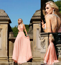 New Charming Pink Beaded Chiffon Custom A-Line Formal Long Evening Prom Dresses
