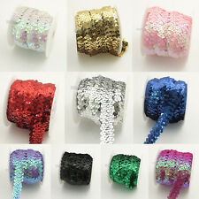 10 Yds Elastic Lace Ribbon Sequin Trimming Stretch Sequin Banding Sewing Crafts